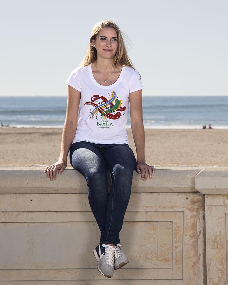Girl wearing Scottish Tangled Tartan Clan T-Shirt