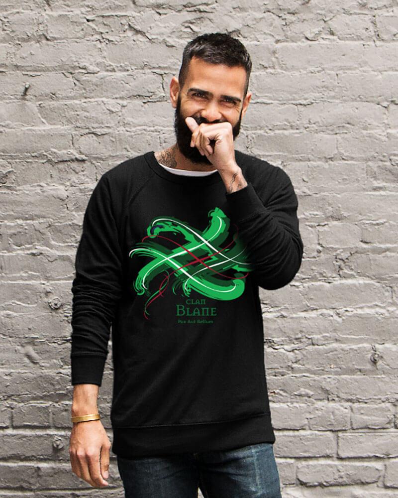 Guy wearing Scottish Tangled Tartan Clan T-shirt