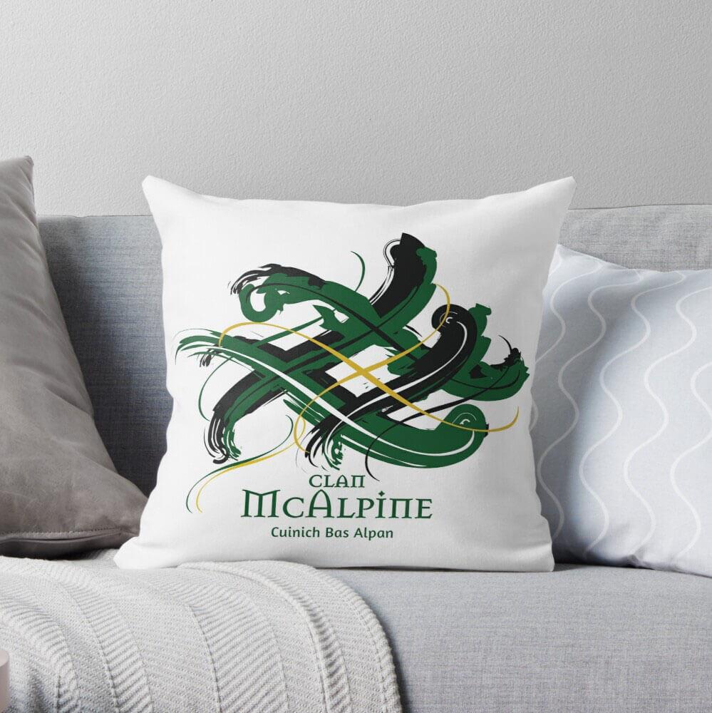 Scottish throw pillow, showing Tangled Tartan Clan design